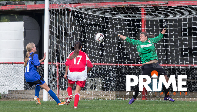May Hamblin of Laurel Park Vipers scores a goal past Goalkeeper Jessica Smith of Flackwell Heath during the Thames Valley Counties Women's Football League (TVCWFL) match between Flackwell Heath Ladies and Laurel Park Vipers at Wilks Park, Blackwell Heath, England on 11 October 2015. Photo by Andy Rowland.