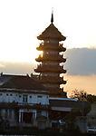 The Chinese style Chee Chin Khor pagoda at the Chao Praya river side in Thonburi,Bangkok,Thailand