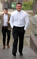 Pictured: Finbar Hannaford arrives at Swansea Crown Court for his sentencing. Thursday 11 May 2017<br />