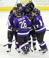 Minnesota State University-Mankato players celebrate Joe Schiller's goal during the third period of Friday night's game at Qwest Center Omaha. UNO beat MSU 5-1.  (Photo by Michelle Bishop).