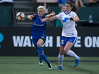 Seattle, WA - Saturday July 15, 2017: Megan Rapinoe, Morgan Andrews during a regular season National Women's Soccer League (NWSL) match between the Seattle Reign FC and the Boston Breakers at Memorial Stadium.