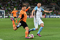 Melbourne, 3 December 2016 - BRANDON BORRELLO (28) of Brisbane Roar kicks the ball in the round 9 match of the A-League between Melbourne City and Brisbane Roar at AAMI Park, Melbourne, Australia. Melbourne drew with Brisbane 1-1 (Photo Sydney Low / sydlow.com)