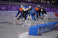 OLYMPIC GAMES: PYEONGCHANG: 24-02-2018, Gangneung Oval, Long Track, Mass Start Men, Chung Jaewon (KOR), Bart Swings (BEL), Koen Verweij (NED), ©photo Martin de Jong
