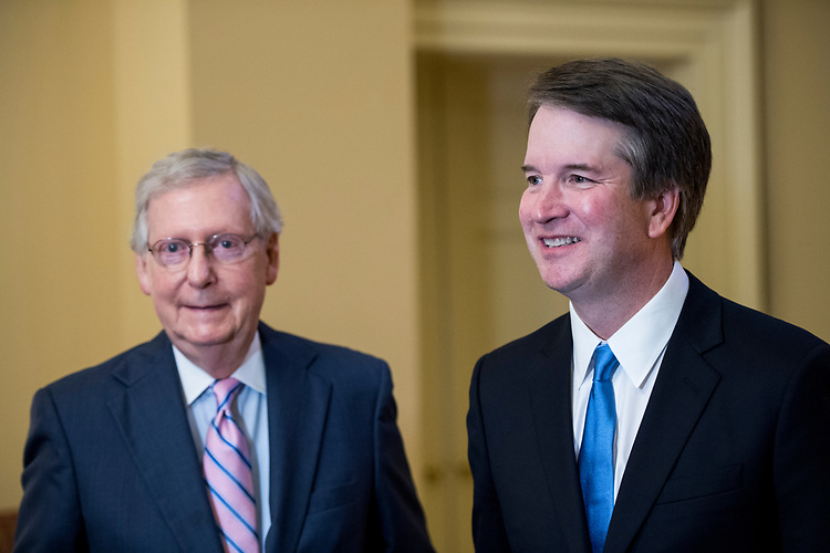 UNITED STATES - JULY 10: Senate Majority Leader Mitch McConnell, R-Ky., left, and Supreme Court nominee Brett Kavanaugh meet in McConnell's office in the Capitol on Tuesday, July 10, 2018, the day after President Donald Trump nominated Kavanaugh to the Supreme Court. (Photo By Bill Clark/CQ Roll Call/POOL)
