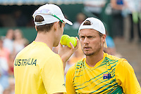 March 5, 2016: Lleyton Hewitt and John Peers of Australia in action against Mike and Bob Bryan of USA during the doubles match of the BNP Paribas Davis Cup World Group first round tie between Australia and USA at Kooyong tennis club in Melbourne, Australia. Photo Sydney Low