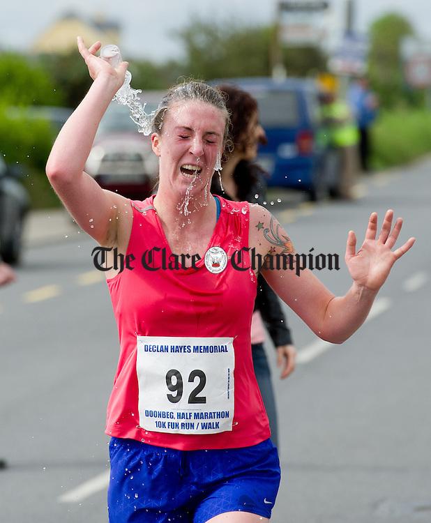 Emma (Haugh or Mcinerney)!!CHECK????? cools down during the Declan Hayes Memorial Doonbeg Half Marathon/10K Fun Run and Walk. Photograph by John Kelly.