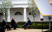 United States President Donald J. Trump and US Vice President Mike Pence participate in a Fox News Virtual Town Hall with Anchor Bill Hemmer, in the Rose Garden of the White House in Washington, DC, Tuesday, March, 24, 2020.<br /> Credit: Doug Mills / Pool via CNP