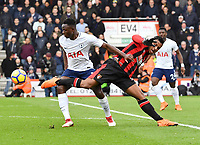 Bournemouth's Lys Mousset (right) battles for possession with Tottenham Hotspur's Juan Foyth (left) <br /> <br /> Bournemouth 1 - 4 Tottenham Hotspur<br /> <br /> Photographer David Horton/CameraSport<br /> <br /> The Premier League - Bournemouth v Tottenham Hotspur - Sunday 11th March 2018 - Vitality Stadium - Bournemouth<br /> <br /> World Copyright &copy; 2018 CameraSport. All rights reserved. 43 Linden Ave. Countesthorpe. Leicester. England. LE8 5PG - Tel: +44 (0) 116 277 4147 - admin@camerasport.com - www.camerasport.com