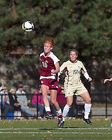 Florida State midfielder Tori Huster (10) heads the ball. Florida State University defeated Boston College, 1-0, at Newton Soccer Field, Newton, MA on October 31, 2010.