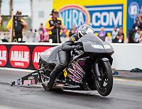 Mar 16, 2019; Gainesville, FL, USA; NHRA pro stock motorcycle rider Katie Sullivan during the Gatornationals at Gainesville Raceway. Mandatory Credit: Mark J. Rebilas-USA TODAY Sports