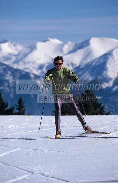 Europe/France/Languedoc-Roussillon/66/Pyrénées-Orientales/Capcir: Ski de fond au col de la Llosa - En fond le Canigou (AUTORISATION N°49-50)