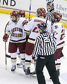 Cam Atkinson (BC - 13), Joe Whitney (BC - 15), Brian Dumoulin (BC - 2), (Gibbons), Patrick Alber (BC - 27) - The Boston College Eagles defeated the Merrimack College Warriors 7-0 on Tuesday, February 23, 2010 at Conte Forum in Chestnut Hill, Massachusetts.