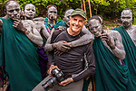 Art Wolfe on location with Surma tribesmen, Omo River, Ethiopia
