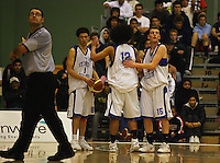 Umpire James Campion and St Pats players look at the clock with less than two minutes to go during the NZ Secondary Schools Basketball Championships match between Fraser High School and St Patricks College at Arena Manawatu, Palmerston North, New Zealand on Saturday 4 October 2008. Photo: Dave Lintott / lintottphoto.co.nz