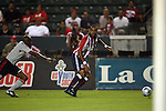 22 August 2009: Chivas USA's Maicon Santos (BRA) (right) and Toronto's Marvell Wynne (left). CD Chivas USA played Toronto FC at the Home Depot Center in Carson, California in a regular season Major League Soccer game.