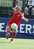 Abby Wambach kicks the ball.  Washington Freedom defeated FC Gold Pride 4-3 at Buck Shaw Stadium in Santa Clara, California on April 26, 2009.