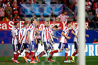 Koke of Atletico de Madrid scores during Champios Legue soccer match between Atletico de Madrid V Malmoe al Vicente Calderon Stadium. October 22, 2014. (ALTERPHOTOS/Caro Marin)
