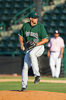 Augusta GreenJackets relief pitcher Jacob Smith (35) in action against the Hickory Crawdads at L.P. Frans Stadium on May 11, 2014 in Hickory, North Carolina.  The GreenJackets defeated the Crawdads 9-4.  (Brian Westerholt/Four Seam Images)