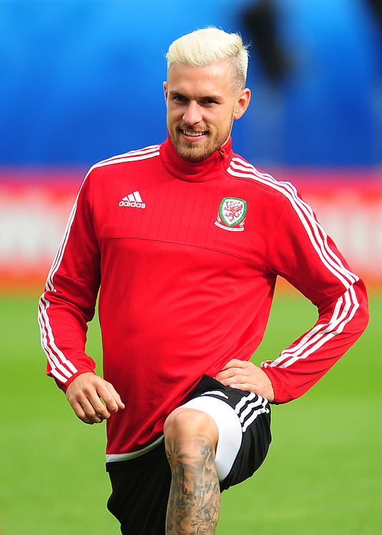 Wales's Aaron Ramsey during todays training session<br /> <br /> Photographer Kevin Barnes/CameraSport<br /> <br /> International Football - 2016 UEFA European Championship - Training Session - Group B - England v Wales - Wednesday, 15th June 2016 - Stade Bollaert-Delelis, Lens Agglo, France<br /> <br /> World Copyright &copy; 2016 CameraSport. All rights reserved. 43 Linden Ave. Countesthorpe. Leicester. England. LE8 5PG - Tel: +44 (0) 116 277 4147 - admin@camerasport.com - www.camerasport.com