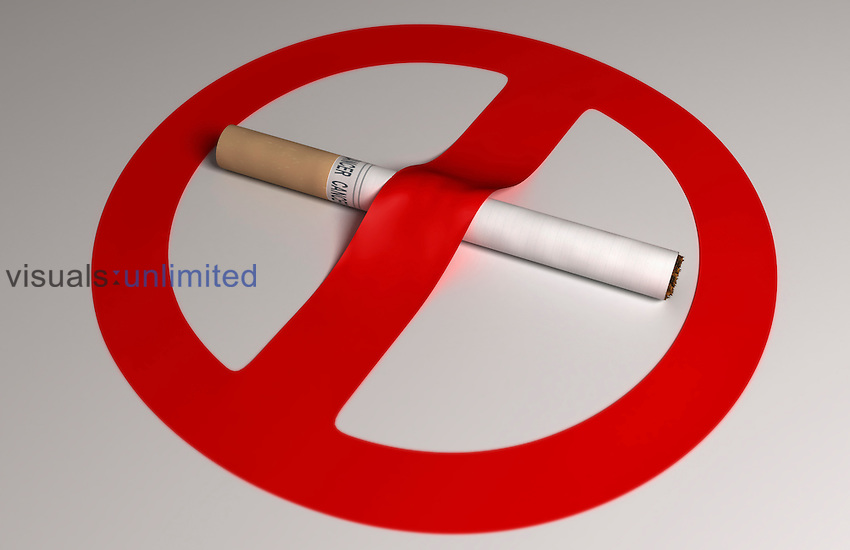 Image depicting the 'No Smoking' symbol by using a cigarette and a ribbon draped over it. Royalty Free