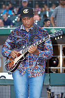 Former New York Yankee great Bernie Williams warms-up to play the National Anthem prior to the International League game between the Scranton/Wilkes-Barre RailRiders and the Charlotte Knights at BB&T BallPark on August 13, 2019 in Charlotte, North Carolina. The Knights defeated the RailRiders 15-1. (Brian Westerholt/Four Seam Images)