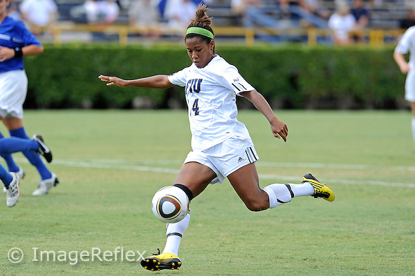 10 October 2010:  FIU defender Katrina Rose (14) takes a shot at the goal in the second half as the Middle Tennessee Blue Raiders defeated the FIU Golden Panthers, 3-1, at University Park Stadium in Miami, Florida.