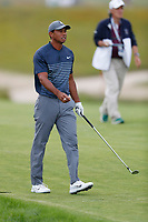 Tiger Woods (USA) hits his second shot on  the 18th hole during the first round of the 118th U.S. Open Championship at Shinnecock Hills Golf Club in Southampton, NY, USA. 14th June 2018.<br /> Picture: Golffile | Brian Spurlock<br /> <br /> <br /> All photo usage must carry mandatory copyright credit (&copy; Golffile | Brian Spurlock)