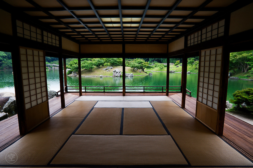 View of the garden from inside the sukiya style Kikugetsu-tei Tea House at Ritsurin Park.