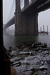 Manhattan bridge in the winter. Images of New York 2004, New York,U.S.A