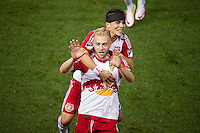 HARRISON, NJ - Wednesday May 18, 2016: Mike Grella scores the only goal of the game to take the New York Red Bulls up over the Chicago Fire at home at Red Bull Arena during the 2016 MLS regular season.