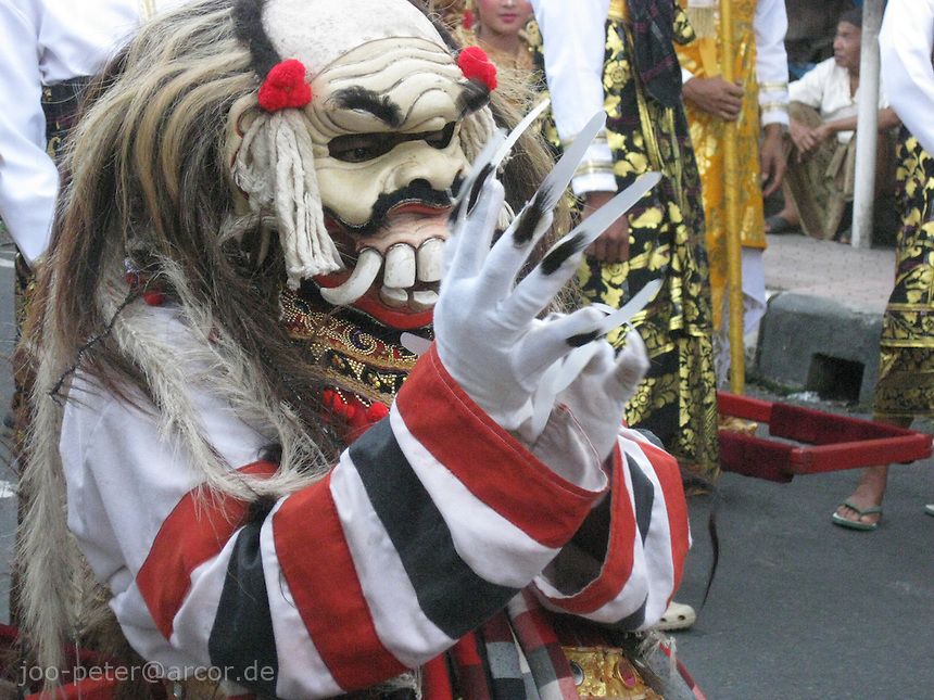 actor performing as a character connected to divine witch Rangda in street procession, Ubud, August 2009, Bali, archipelago Indonesia