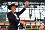 Norichika Aoki (Astros),<br /> JUNE 12, 2017 - MLB :<br /> Norichika Aoki of the Houston Astros receives a cowboy hat during a pregame ceremony honoring his 2000th career hit before the Major League Baseball game against the Texas Rangers at Minute Maid Park in Houston, Texas, United States. (Photo by AFLO)