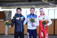 SPEEDSKATING: BERLIN: Sportforum Berlin, 27-01-2017, ISU World Cup, Podium 500m Men Division B, Yuya Oikawa (JPN), Mirko Giacomo Renzi (ITA), Artur Nogal (POL), ©photo Martin de Jong