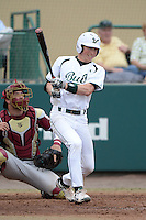 South Florida Bulls third baseman Zac Gilcrease (16) during a game against the Florida State Seminoles on March 5, 2014 at Red McEwen Field in Tampa, Florida.  Florida State defeated South Florida 4-1.  (Mike Janes/Four Seam Images)