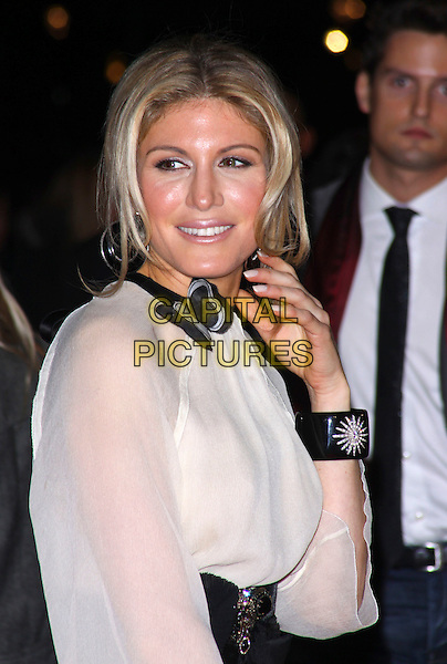 "HOFIT GOLAN .At the ""Me & Orson Welles"" UK Film Premiere, Vue West End, Leicester Sqaure, London, England, .18th November 2009..half length black cream beige sheer see thru though  butterfly on neck cuff hand bracelet Dolce & Gabbana .CAP/AH.©Adam Houghton/Capital Pictures."