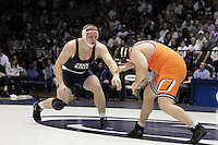 STATE COLLEGE, PA - FEBRUARY 16: Jon Gingrich of the Penn State Nittany Lions during a 285 pound match against Ethan Driver of the Oklahoma State Cowboys on February 16, 2014 at Rec Hall on the campus of Penn State University in State College, Pennsylvania. Penn State won 23-12. (Photo by Hunter Martin/Getty Images) *** Local Caption *** Jon Gingrich;Ethan Driver