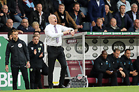 Burnley manager Sean Dyche gestures to his watch in his technical area as added time draws to an end<br /> <br /> Photographer Rich Linley/CameraSport<br /> <br /> The Premier League - Burnley v Everton - Saturday 5th October 2019 - Turf Moor - Burnley<br /> <br /> World Copyright © 2019 CameraSport. All rights reserved. 43 Linden Ave. Countesthorpe. Leicester. England. LE8 5PG - Tel: +44 (0) 116 277 4147 - admin@camerasport.com - www.camerasport.com