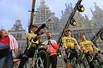 Wout Van Aert (BEL) Team Jumbo-Visma at the team presentation in Antwerp before the start of the 2019 Ronde Van Vlaanderen 270km from Antwerp to Oudenaarde, Belgium. 7th April 2019.<br /> Picture: Eoin Clarke | Cyclefile<br /> <br /> All photos usage must carry mandatory copyright credit (© Cyclefile | Eoin Clarke)