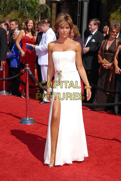 LISA RINNA.59th Annual Primetime Emmy Awards held at the Shrine Auditorium, Los Angeles, California, USA..September 16th, 2007.full length white strapless dress slit split .CAP/ADM/BP.©Byron Purvis/AdMedia/Capital Pictures.