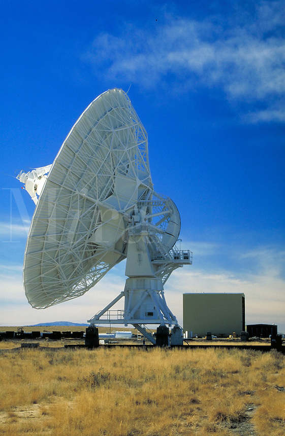 Very Large Array (VLA). Antenna in foreground, Antenna Assembly Building in background.  . New Mexico, Plains of San Agustin.