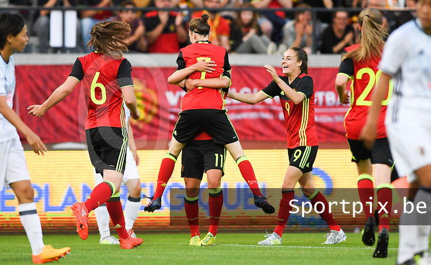 20170613 - LEUVEN ,  BELGIUM : Belgian Elke Van Gorp (7) and her team pictured celebrating the goal and 1-1 score during the friendly female soccer game between the Belgian Red Flames and JAPAN , a friendly game in the preparation for the European Championship in The Netherlands 2017  , Tuesday 13 th June 2017 at Stadion Den Dreef  in Leuven , Belgium. PHOTO SPORTPIX.BE | DAVID CATRY