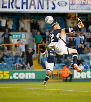 GOAL - Millwall's Aiden O'Brien scores with a hooked volley  during the Sky Bet Championship match between Millwall and Ipswich Town at The Den, London, England on 15 August 2017. Photo by Carlton Myrie.