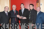 MEDAL: A special presentation was made at the Beale GAA Social on Friday night to Jeremy King (centre), having won an All-Ireland Junior Medal with Kerry in 2006. Photographed were, l-r: Pat Val Diggin (Treasurer), Niall Horgan (Chairman), Patie OMahony and Maurice King..