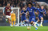 Willian of Chelsea in action during Chelsea vs Aston Villa, Premier League Football at Stamford Bridge on 4th December 2019