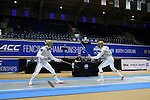 DURHAM, NC - FEBRUARY 26: Notre Dame's Kristjan Archer (ENG) (right) and Axel Kiefer (left) compete in the Men's Foil championship match. The Atlantic Coast Conference Fencing Championships were held on February, 26, 2017, at Cameron Indoor Stadium in Durham, NC.
