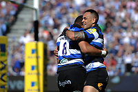Taulupe Faletau of Bath Rugby celebrates his try with team-mate Kahn Fotuali'i. Aviva Premiership match, between Bath Rugby and London Irish on May 5, 2018 at the Recreation Ground in Bath, England. Photo by: Patrick Khachfe / Onside Images