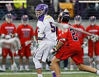Connor Fields (#5) looks for an opening as UAlbany Men's Lacrosse defeats Richmond 18-9 on May 12 at Casey Stadium in the NCAA tournament first round.