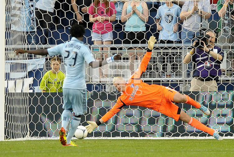 Kevin Hartman FC Dallas goalkeeper saves a penalty from Kei Kamara Sporting KC... Sporting Kansas City defeated FC Dallas 2-1 at LIVESTRONG Sporting Park, Kansas City, Kansas.