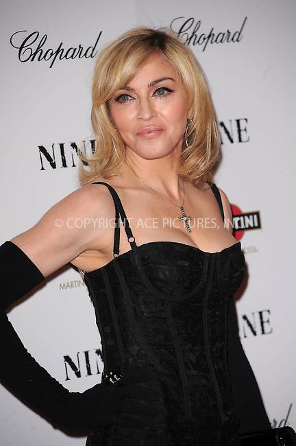 WWW.ACEPIXS.COM . . . . . ....December 15 2009,  New York City....Singer Madonna arriving at the New York premiere of 'Nine' at the Ziegfeld Theatre on December 15 2009 in New York City....Please byline: KRISTIN CALLAHAN - ACEPIXS.COM.. . . . . . ..Ace Pictures, Inc:  ..(212) 243-8787 or (646) 679 0430..e-mail: picturedesk@acepixs.com..web: http://www.acepixs.com