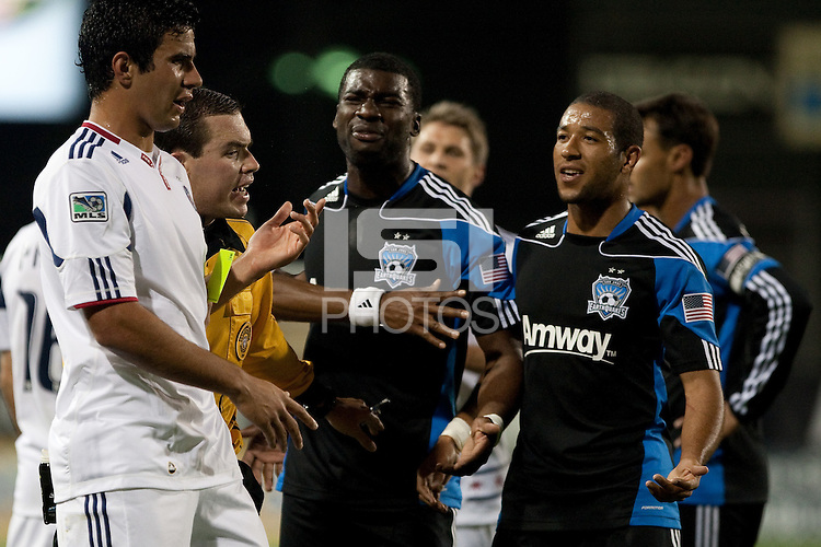 San Jose Earthquakes and Chicago Fire players argue. The Chicago Fire defeated the San Jose Earthquakes after going 5-4 on penalty kicks, after a 2-2 score in regulation during the US Open Cup at Buck Shaw Stadium in Santa Clara, California on May 24th, 2011.